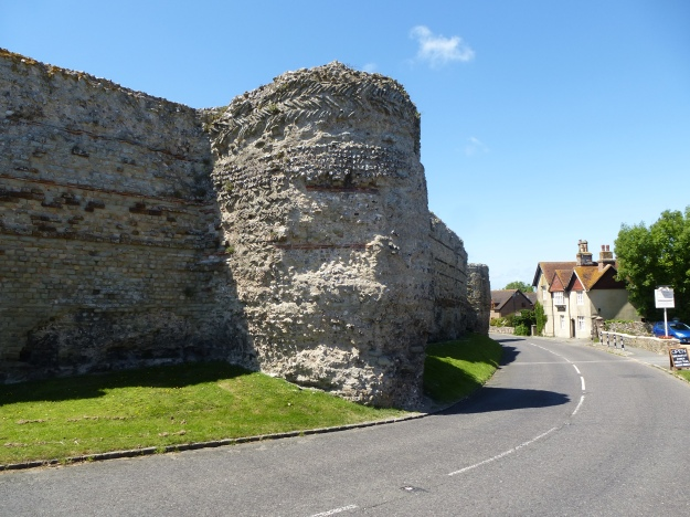 A Roman bastion in the north wall of Pevensey Roman Fort