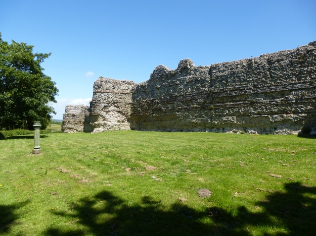 The impressive wall of Pevensey Roman Fort