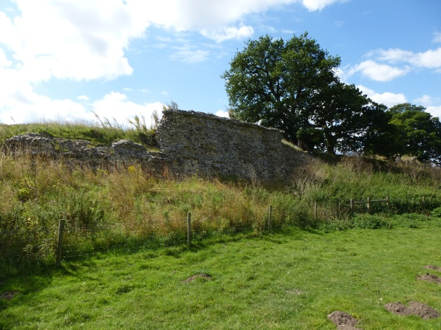 The impressive defensive wall of Caistor Roman town