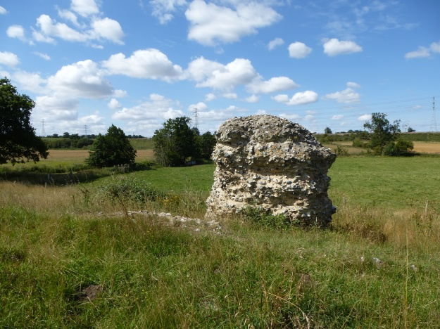 A surviving section of the defensive wall of Caistor Roman town