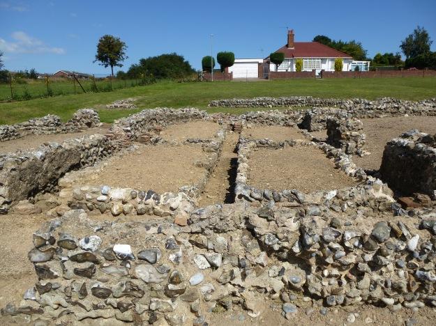 The raised hypocaust floor of Caistor-on-Sea Roman fort, Norfolk