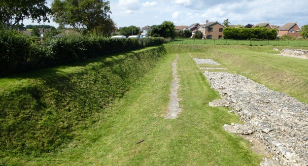 The ditch and south wall of Caistor-on-Sea Roman fort, Norfolk