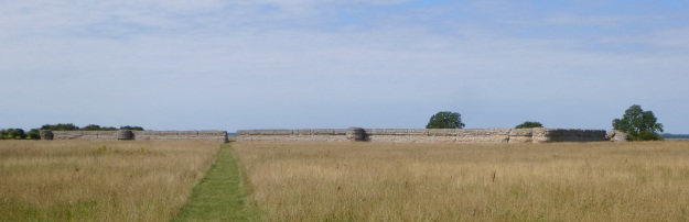 The impressive approach to Burgh Castle Roman Fort, Norfolk