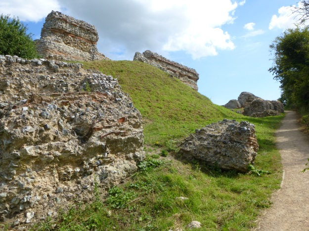The collapsed west wall of Burgh Castle Roman Fort, Norfolk